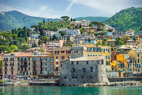 Poster Bleu ciel Landscape Rapallo Liguria Italy
