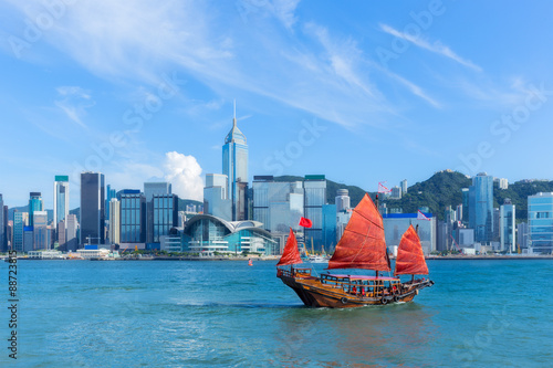 фотография  Hong Kong harbour with junk boat