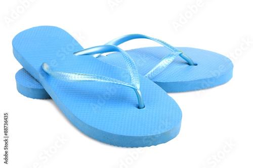 isolate, blue beach flip flops