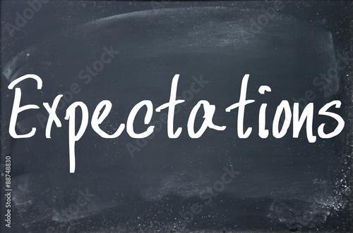 Fotografie, Obraz  expectations word write on blackboard