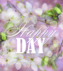 Abstract floral background light colors. Spring bloom background, romantic white flowers. Beautiful card with wishes of happy day. Used  as a greeting or gift layout, wallpaper, web template, etc.