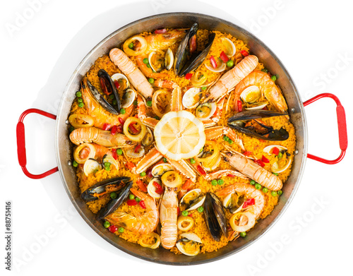 Fotografie, Obraz Spanish seafood paella, view from above