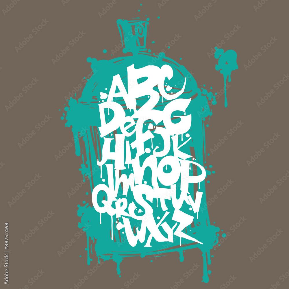 Photo & Art Print Colorful graffiti font alphabet letters