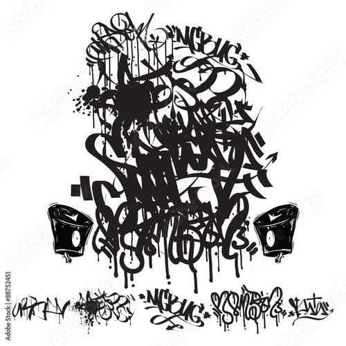 Photo  Vector Graffiti Tags - writing