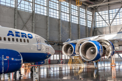 plakat Passenger aircraft in the hangar