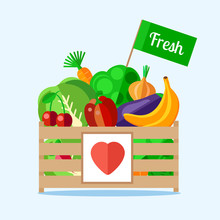 Wooden Box With Vegetables And Fruits In A Flat Style. The Background Of Fresh, Natural Foods. Cart With Product Buy In Supermarket. Vector Illustration.