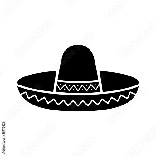 Fényképezés  Sombrero / Mexican hat flat icon for apps and websites