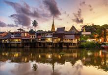 Village Near River In Evening Beautiful Sunset