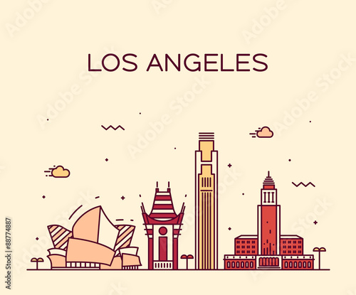 Photo  Los Angeles skyline vector illustration linear