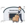Vector Flat Illustration of Delivery Man with Boxes on Two Wheel Cart in front of Warehouse.