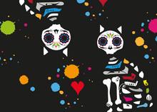 Sugar Skull Katzen-Día De Los Muertos