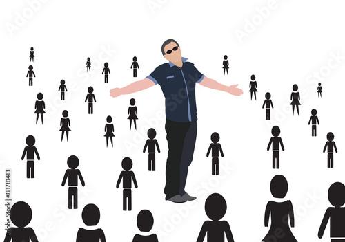 persona con braccia allargate Wallpaper Mural