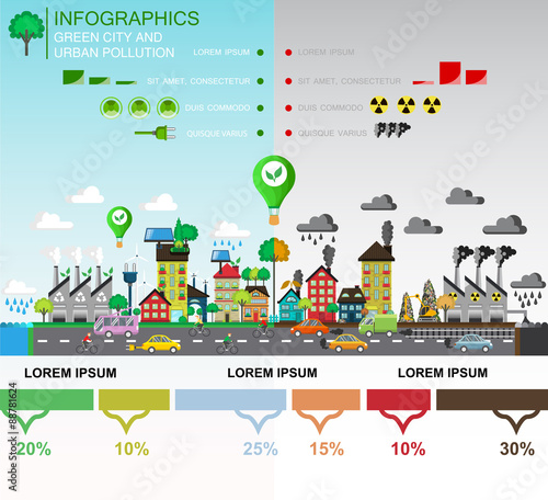 Infographic Elements Of Environmental Pollution Of The City