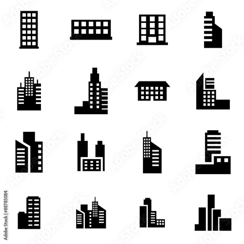 Vector black building icon set Poster Mural XXL