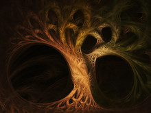 Abstract Fractal Tree Image Over Black Background