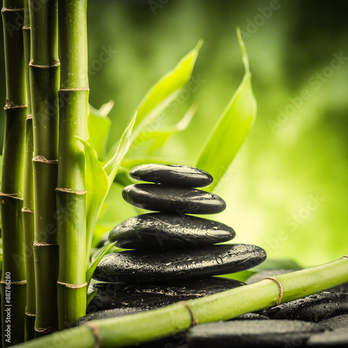 Recess Fitting Zen spa concept with zen basalt stones and bamboo