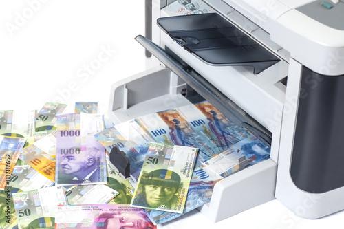 Printer printing fake Swiss francs, currency of switzerland - Buy