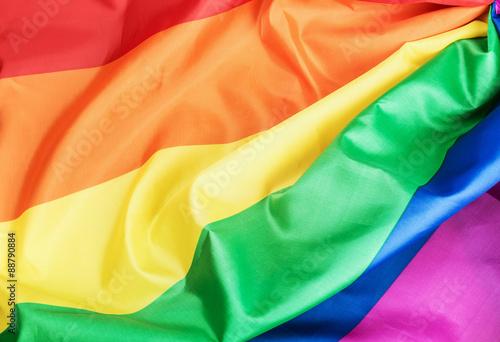 Fabric texture of the Gay rainbow flag Canvas Print