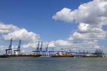 Container Ships In Felixstowe Port UK