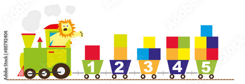 Fotografía  train with numbers and color blocks - vectors for children