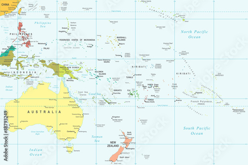 Photo Australia and Oceania map - highly detailed vector illustration.