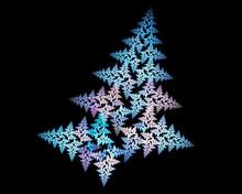 Abstract Fractal Design. Blue Fir On Black.