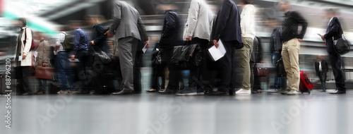 Fotografie, Obraz  people waiting in line, travellers in queue