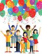 Kinder feiern mit Luftballons