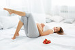 Happy Pregnant Woman Feels Healthy and Gets Some Fun. Healthy Food. Diet
