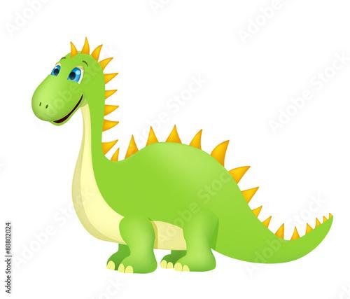 Photo  cute cartoon dinosaur on white. vector
