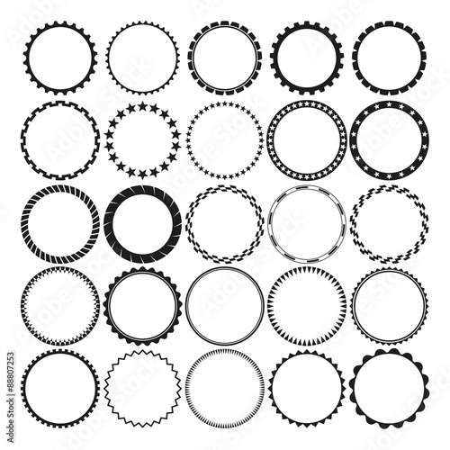 Collection of Round Decorative Border Frames with Clear Background. Ideal for vintage label designs. Wall mural