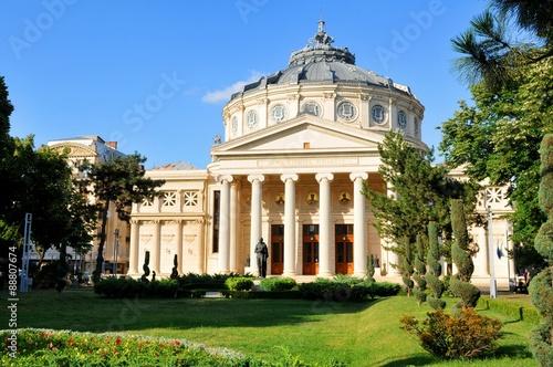 Majestic architecture of the Romanian Athenaeum in Bucharest, Romania Canvas Print
