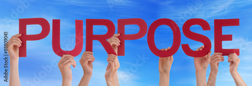Photo  Many People Hands Holding Red Straight Word Purpose Blue Sky