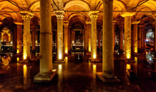 Interior Of Basilica Cistern, Istanbul, Turkey. Panorama Inside Byzantine Building.