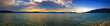 Panoramic image of a sunset over the Solina lake