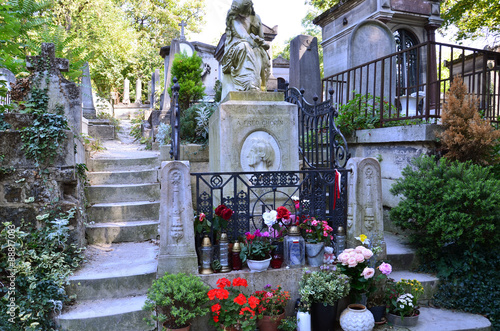 Poster Cimetiere Tomb of Frederic Chopin, famous Polish composer, at Pere Lachaise cemetery in Paris, France