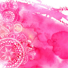 Pink Watercolor Paint Background With White Hand Drawn Round