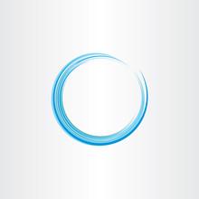 Blue Water Wave Circle Design Element Vector