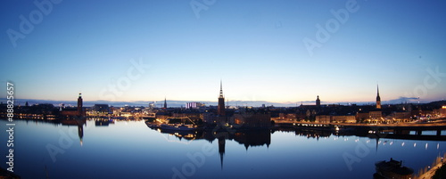 Photo  Scenic evening panorama of  Stockholm, Sweden