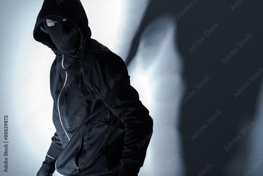 Fototapeta Robber in Black Mask