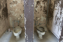 Dirty, Decaying Toilet Stalls