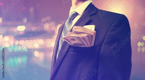 Fototapeta Businessman with wad of cash obraz