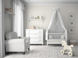 Classic children room in white color 3D rendering