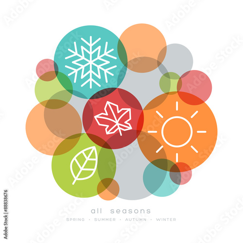 Fotografie, Tablou  four seasons icon symbol vector