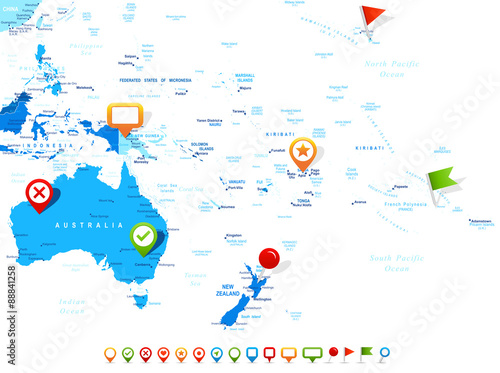 Australia Map City Names.Australia And Oceania Map And Navigation Icons Illustration