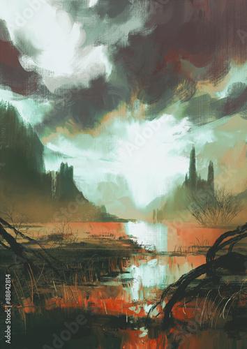 fantasy krajobraz mistycznego czerwonego bagna o zachodzie słońca