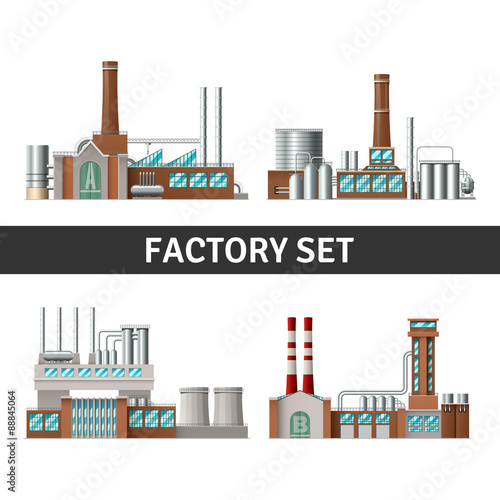 Poster Turquoise Realistic Factory Set