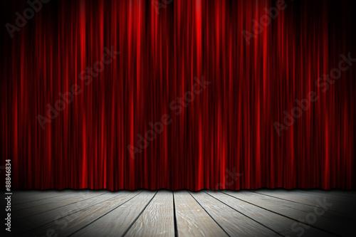 Plakat scena teatralna z czerwonymi zasłonami w centrum uwagi