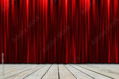 Plakat scena teatralna z czerwonymi zasłonami