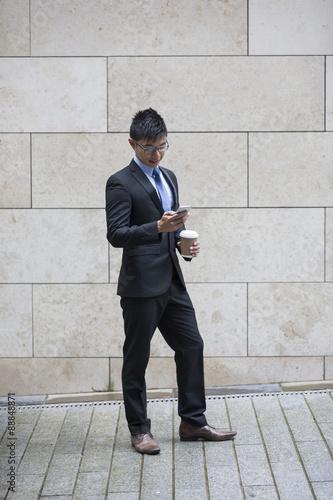 Garden Poster Fantasy Landscape Portrait of Asian businessman using Smart phone.